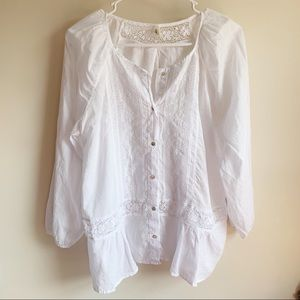 Anthro Tiny White Sanaa Lace Embroidered Blouse
